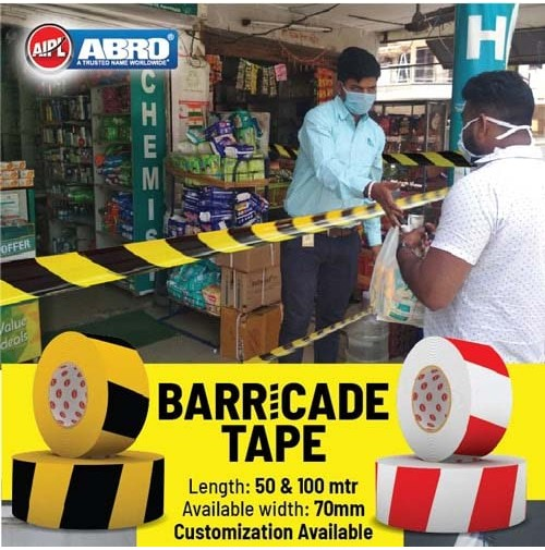 Social Distancing Barricade Tape, 70mm X 50 meter; Yellow/Black Stripes