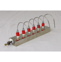 "Glas-Col Barvap 6, 6 position unheated bar evaporator, with six 4"" bent needles, needle valve and 3' of 1/4"" tubing (1Pc/Pack)"