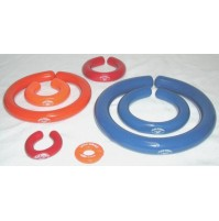 "Glas-Col Lead Donut® Stabilizers. Open ""split ring"" design. PVC-Coated. Orange. 2 cm ID (1Pc/Pack)"