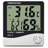 HTC Digital Thermo-Hygrometer with Clock, Temperature Resolution - 0.1°C
