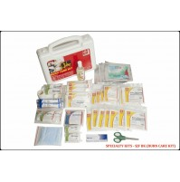 ST JOHN'S FIRST AID, BURN CARE FIRST AID  KIT, MEDIUM, PLASTIC BOX HANDY, WHITE, 44 COMPONENTS SJF BK