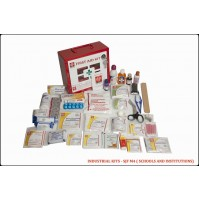 ST JOHN'S FIRST AID, INDUSTRIAL FIRST AID  KIT, LARGE,  METAL BOX WALL COUNTED WITH ACRYLIC DOOR, 118 COMPONENTS SJF M4