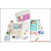 ST JOHN'S FIRST AID, NEW PARENT FIRST AID  KIT, MEDIUM, PLASTIC BOX HANDY, TRANSPARENT, 62 COMPONENTS SJF NP