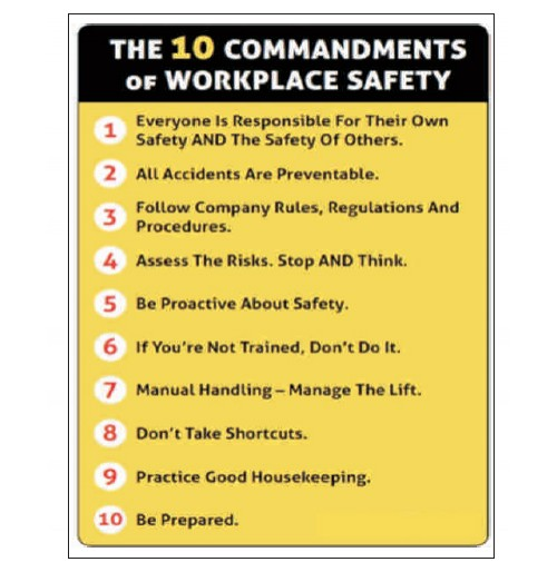 NSB Poster : The 10 Commandments of Workplace Safety.
